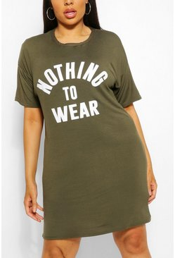 Khaki Plus Nothing To Wear T Shirt Dress