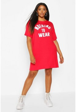 Womens Red Plus Nothing To Wear T Shirt Dress
