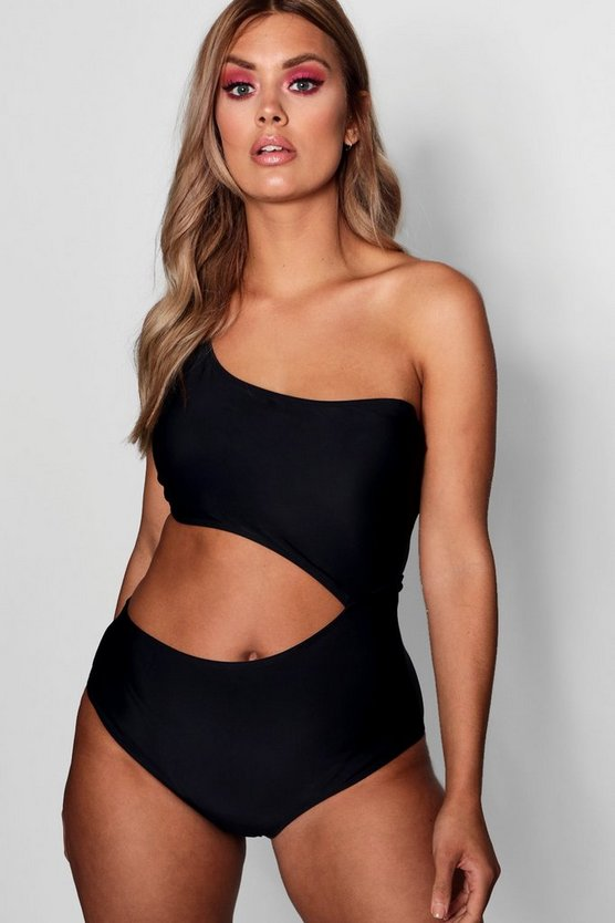 Plus Asymmetric Cut Out Swimsuit
