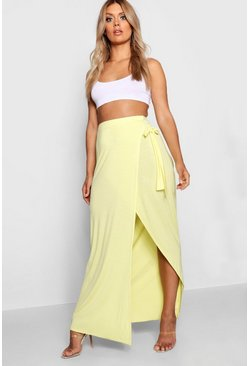 Womens Yellow Plus Wrap Maxi Skirt