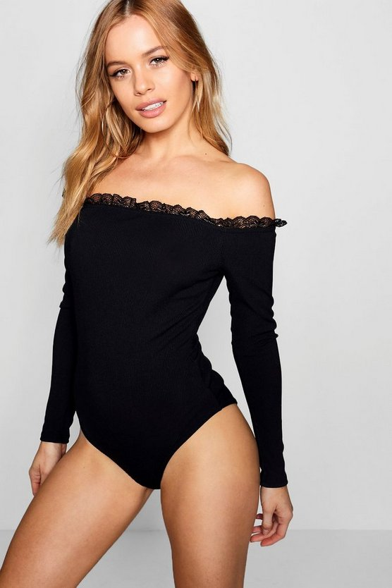 Petite Jem Lace Trim Off The Shoulder Rib Bodysuit