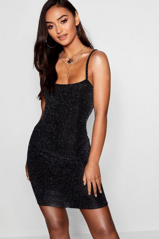 Womens Petite Glitter Strappy Bodycon Dress