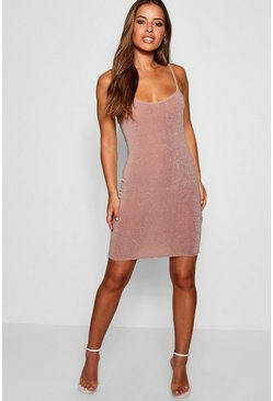 Womens Blush Petite Glitter Strappy Bodycon Dress
