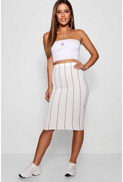 Womens Ivory Petite Crepe Striped Mini Skirt