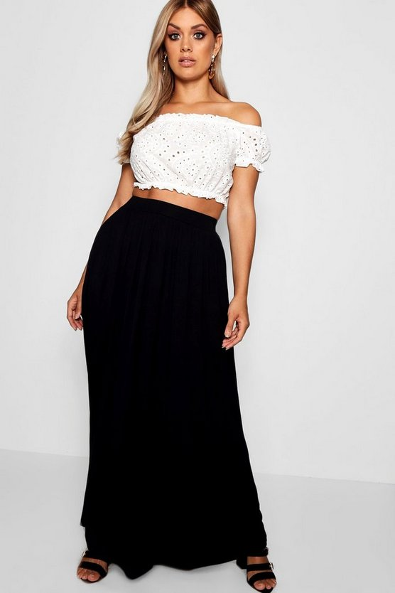 Plus Floor Sweeping Jersey Maxi Skirt