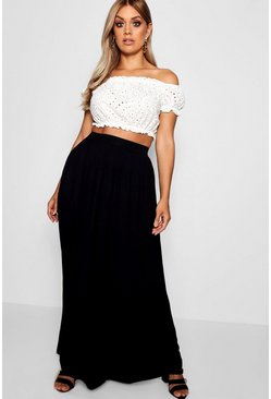 Womens Black Plus Floor Sweeping Jersey Maxi Skirt