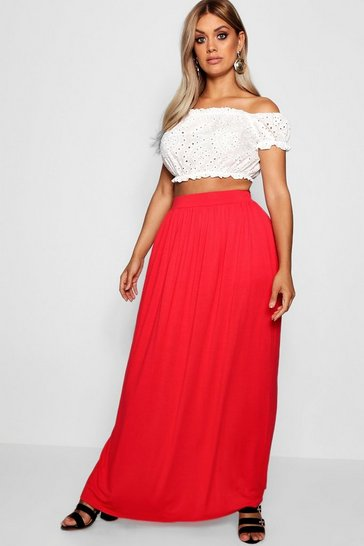 Red Plus Floor Sweeping Jersey Maxi Skirt