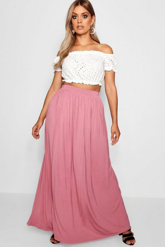 Womens Rose Plus Floor Sweeping Jersey Maxi Skirt