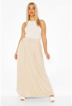 Plus Floor Sweeping Jersey Maxi Skirt, Stone