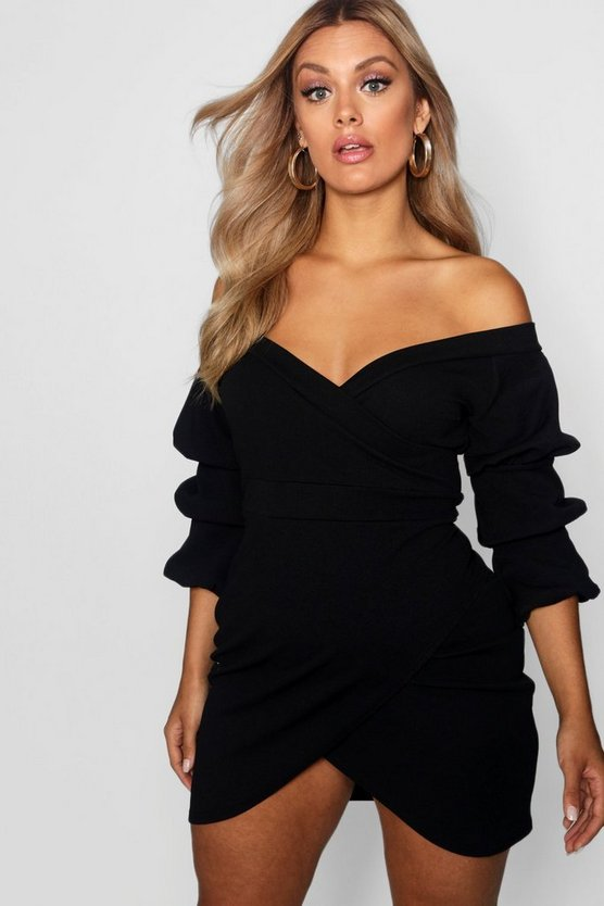 Womens Black Plus Off The Shoulder Wrap Bodycon Dress