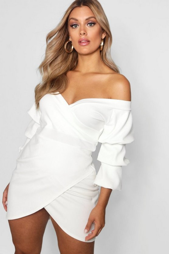 Womens Ivory Plus Off The Shoulder Wrap Bodycon Dress