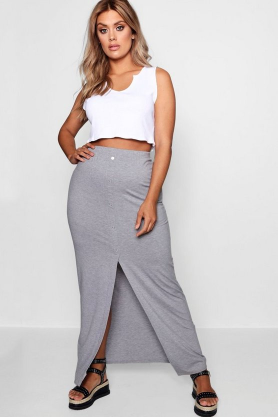Womens Plus Button Front Split Maxi Skirt