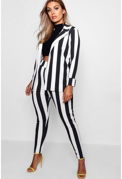 Womens Black Plus Striped Suit Co-ord