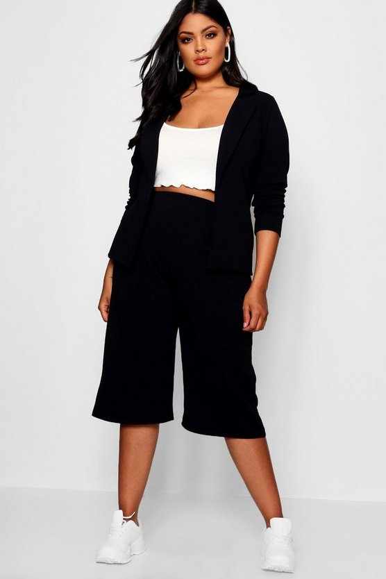 Plus Open Blazer Culotte Suit Co-ord