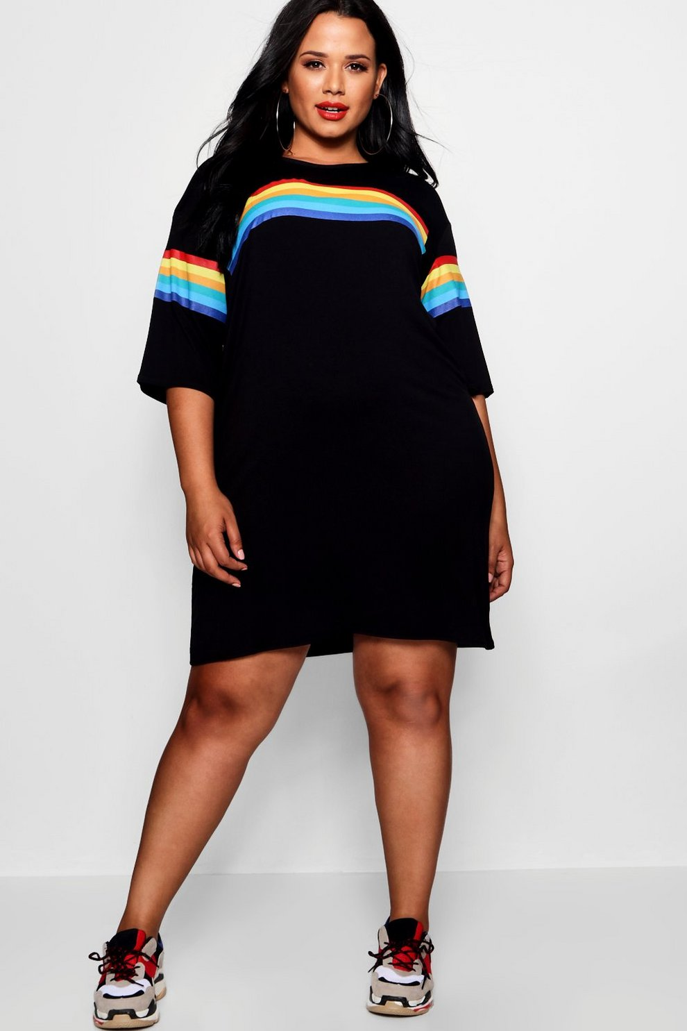 e6e98b9b1ce38 Plus Rainbow Print T-shirt Dress | Boohoo