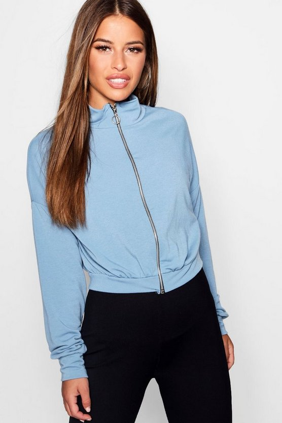 Petite O Ring Zip Through Bomber Jacket