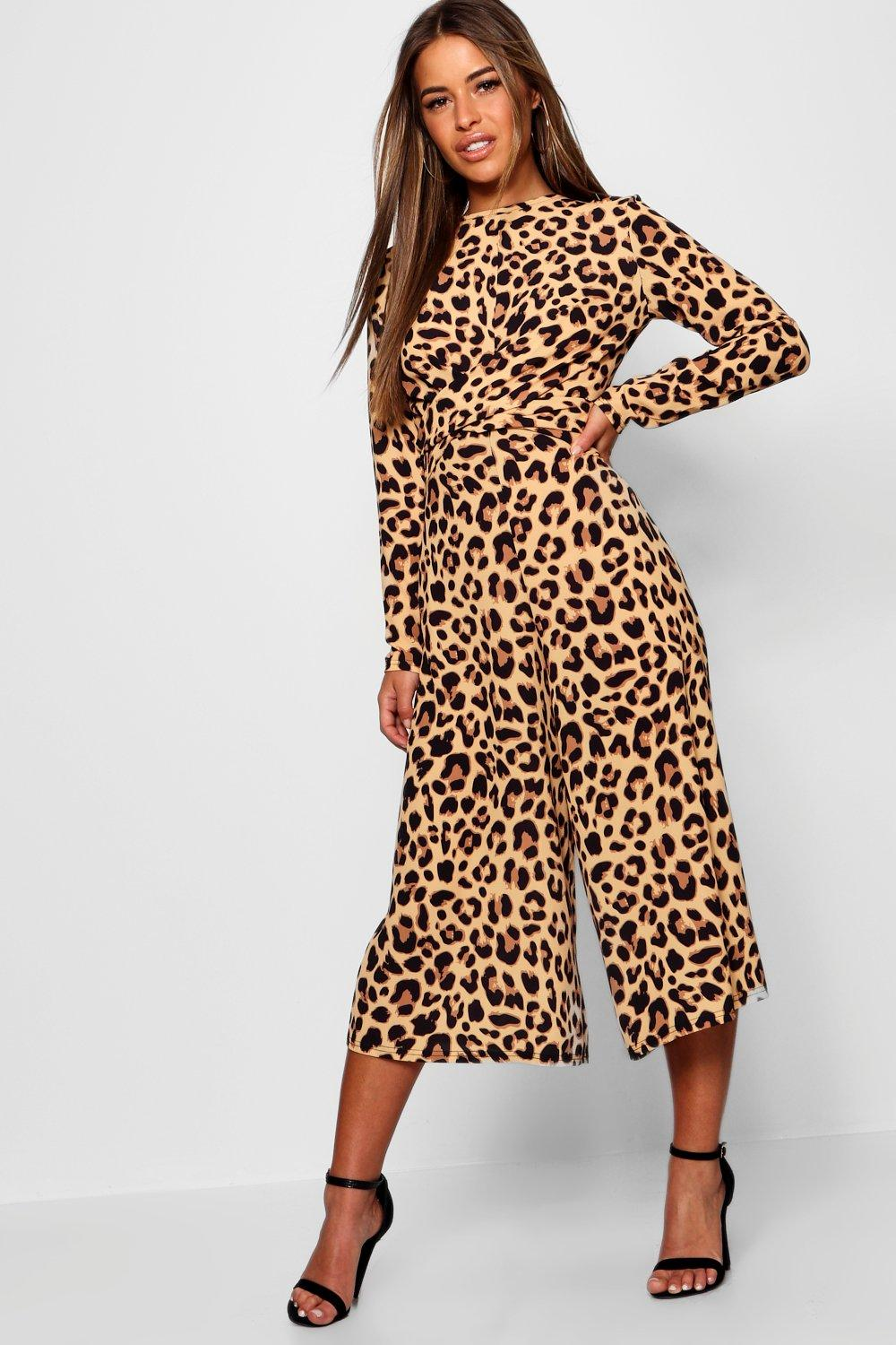 09d356b0eceb Petite Leopard Print Knot Front Jumpsuit. Hover to zoom
