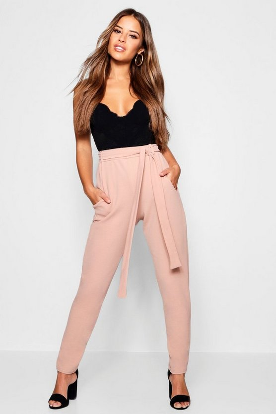 Petite Tie Waist Tapered Trousers