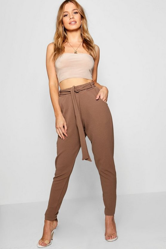 Womens Chocolate Petite Tie Waist Tapered Trousers