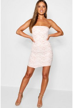 Womens Petite White Lace Bodycon Dress