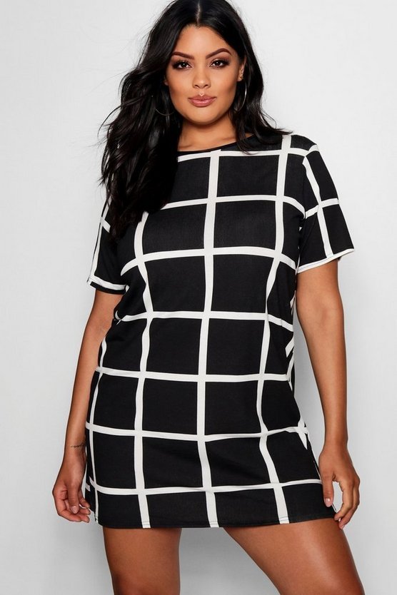 Plus Grid Print T Shirt Dress