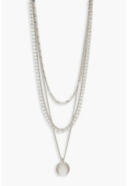 Womens Silver Plus Moon Layered Choker Necklace