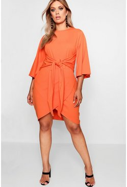 Womens Orange Plus Kimono Sleeve Tie Waist Wrap Dress
