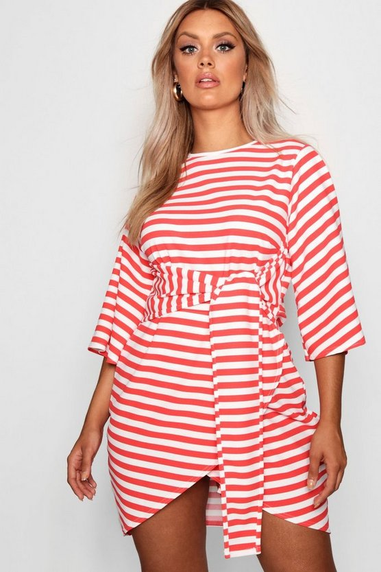 Womens Red Plus Elle Stripe Kimono Sleeve Tie Waist Wrap Dress