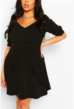 Black Plus Ruffle Detail Wrap Skater Dress