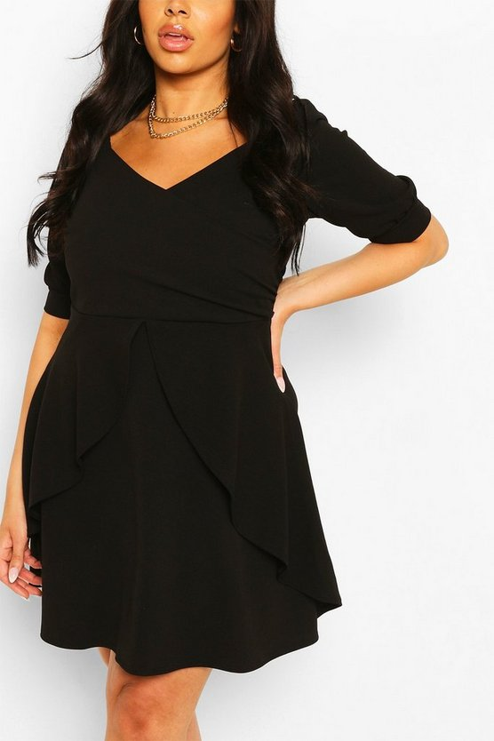 Womens Black Plus Ruffle Detail Wrap Skater Dress