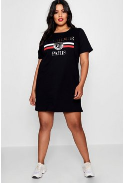 Plus L'amour T Shirt Dress, Black, Femme