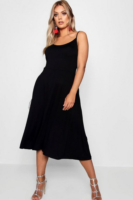 Womens Black Plus Jersey Basic Midi Skater Dress