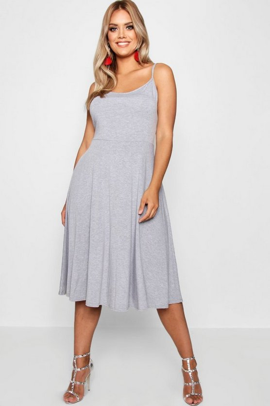 Plus Jersey Basic Midi Skater Dress, Grey, DAMEN