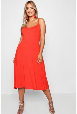 Womens Orange Plus Jersey Basic Midi Skater Dress