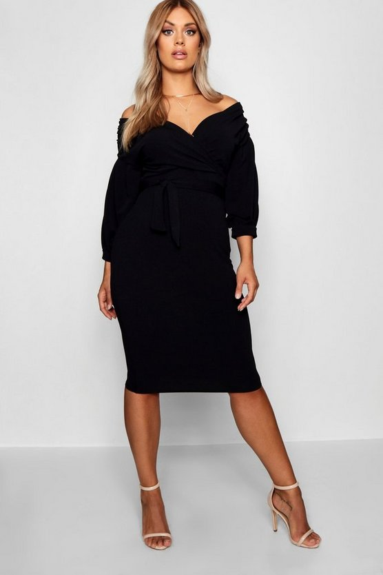 Womens Black Plus Off Shoulder Wrap Midi Dress
