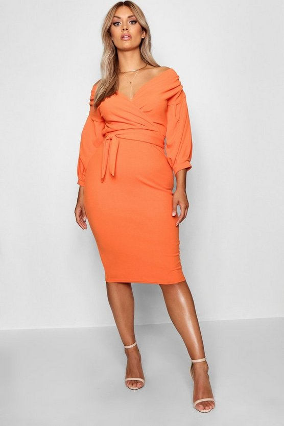 Plus Off Shoulder Wrap Midi Dress