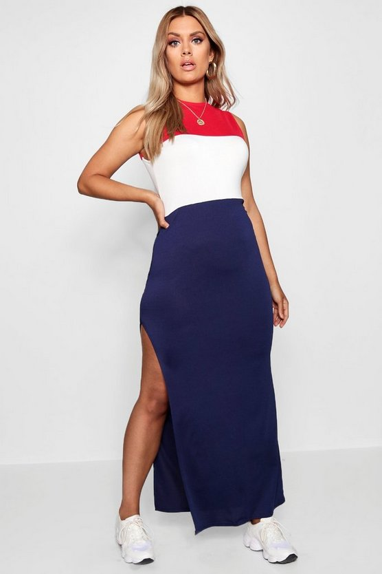 Plus Colour Block Maxi Dress