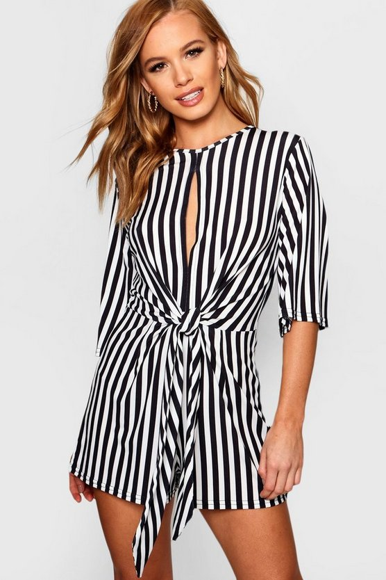 Petite Twist Front Stripe Playsuit