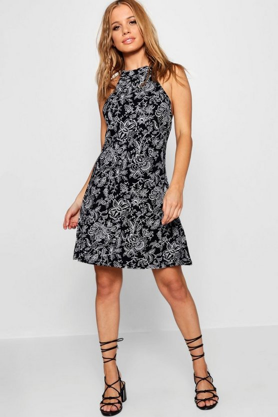 Petite Paisley Print Tie Neck Skater Dress