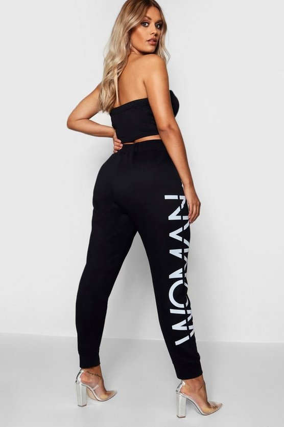 Womens Woman Slogan Jogger