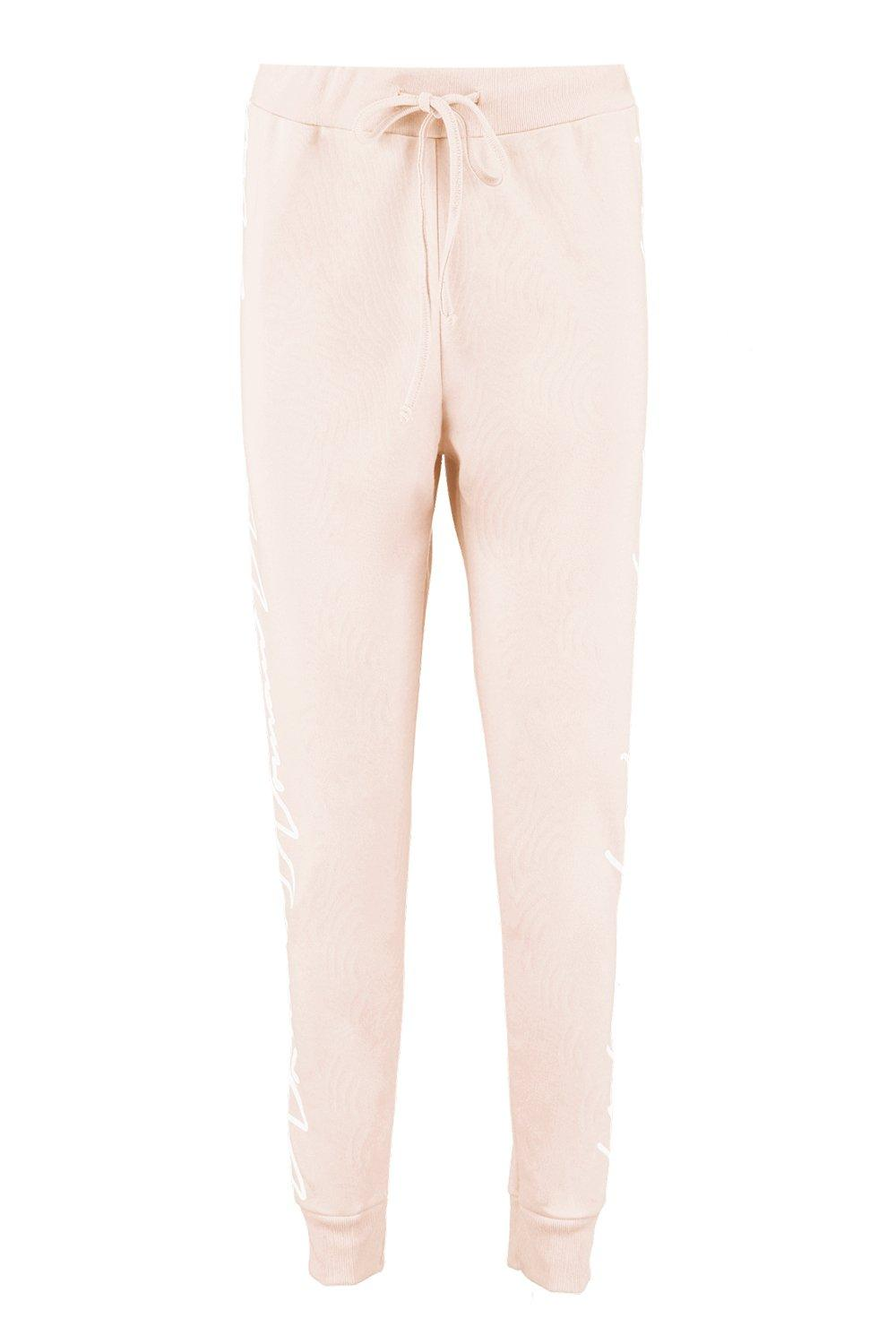 NEW-Boohoo-Womens-Woman-Slogan-Side-Detail-Jogger-in-Polyester