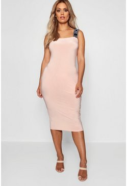 Womens Nude Woman Slinky Midi Dress