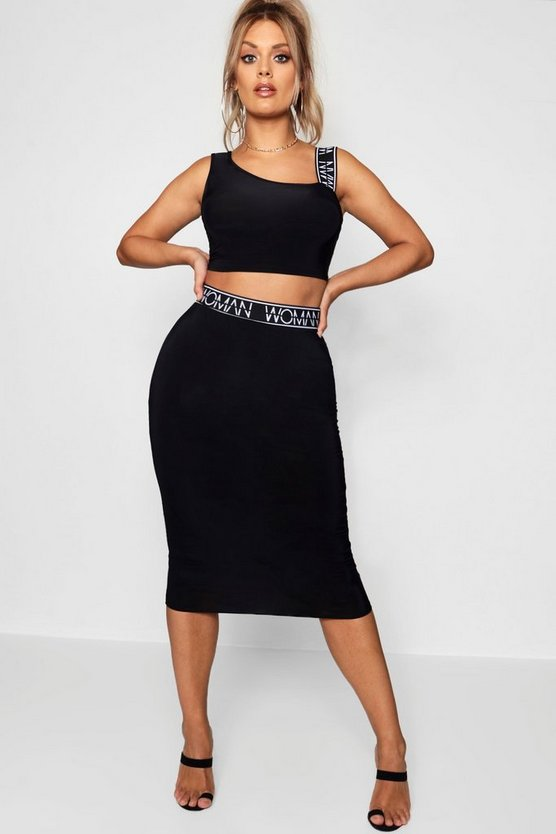 Womens Black Woman Slinky Bralet & Midi Skirt Co-Ord