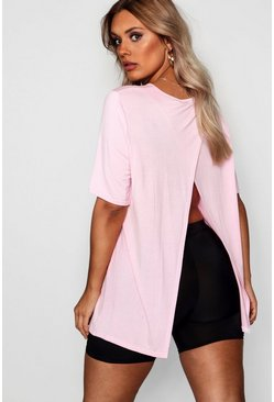 Womens Powder pink Plus Jersey Split Open Back T-Shirt