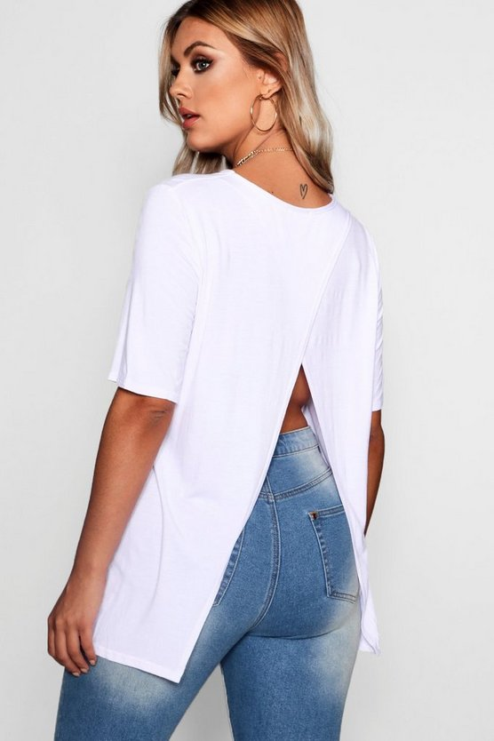 Womens White Plus Jersey Split Open Back T-Shirt