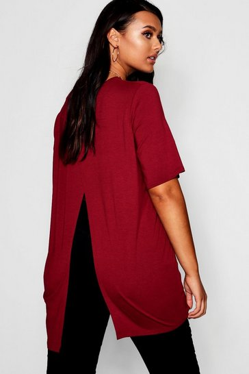 Womens Wine Plus Jersey Split Open Back T-Shirt