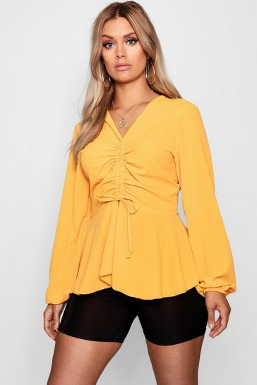 Womens Mustard Plus  Woven Ruched Front Peplum Smock Top