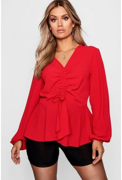 Womens Red Plus  Woven Ruched Front Peplum Smock Top