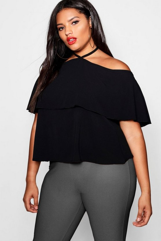 Womens Black Plus Cold Shoulder Frill Layer Swing Top