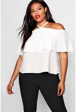 Womens Ivory Plus Cold Shoulder Frill Layer Swing Top